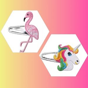 Other - Rainbow Unicorn and Flamingo Barrette Set New